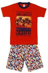 Conjunto infantil Blusa Malibu vermelha e short moletinho – Cleomara