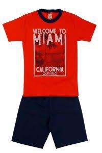 Conjunto infantil Blusa Miami vermelha e short tactel Azul Marinho – Cleomara