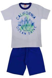 Conjunto infantil Blusa California Branca e short tactel Azul – Cleomara