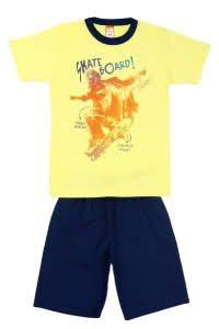 Conjunto infantil Blusa Skate Amarela e short tactel Preto – Cleomara