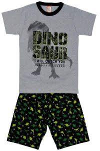 Conjunto infantil Blusa Dinosauro Cinza e short moletinho – Cleomara