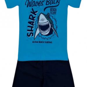Conjunto infantil Blusa Shark Azul e short tactel azul marinho – Cleomara